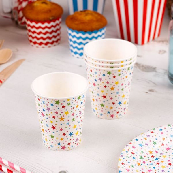 Carnival Multi Coloured Paper Cups - Stars (8)